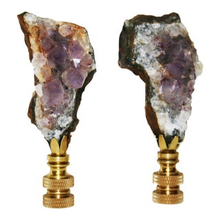 Amethyst Lamp Finials - A Pair