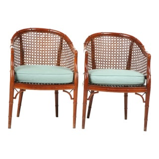 Regency Style Faux Bamboo Chairs- a Pair For Sale