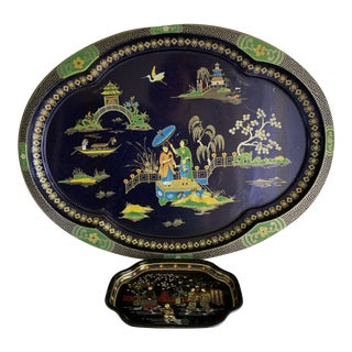 Midcentury Asian Chinoiserie Serving Trays, Set of Two For Sale