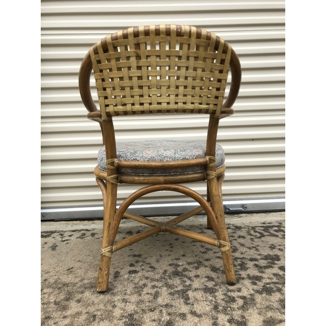 1970s Vintage McGuire Rattan and Leather Dining Chairs- Set of 10 For Sale - Image 9 of 12