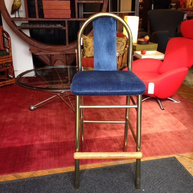 Brass Barstool With Blue Upholstered Seat - Image 4 of 6