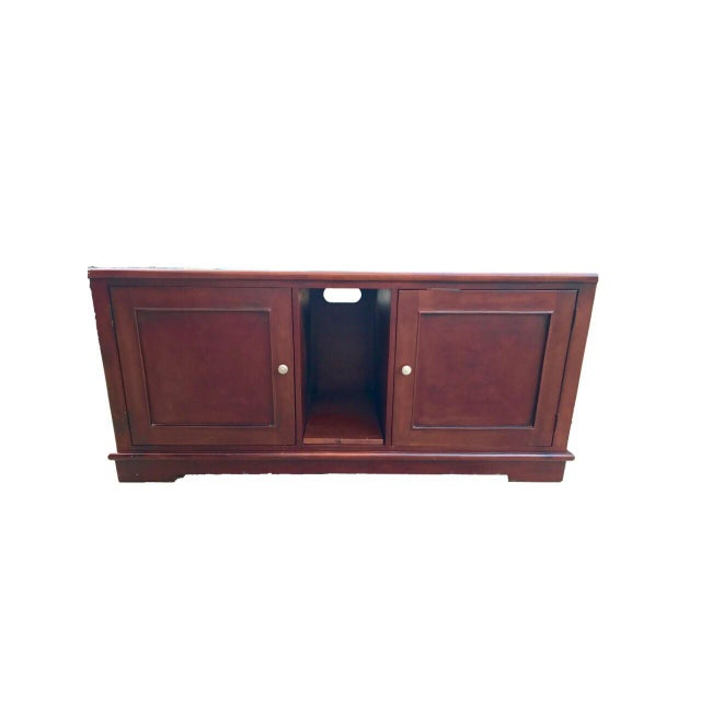 Solid Mahogany Contemporary Entertainment Console - Image 2 of 10