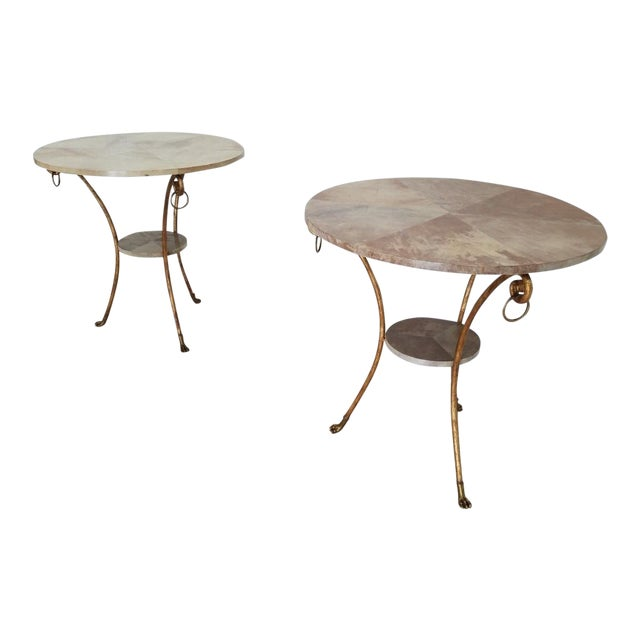 Parcel Gilt Wrought Iron and Goat Skin Tables - a Pair For Sale