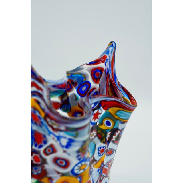 Vintage Murano Millefiori Handkerchief Vase For Sale - Image 9 of 12