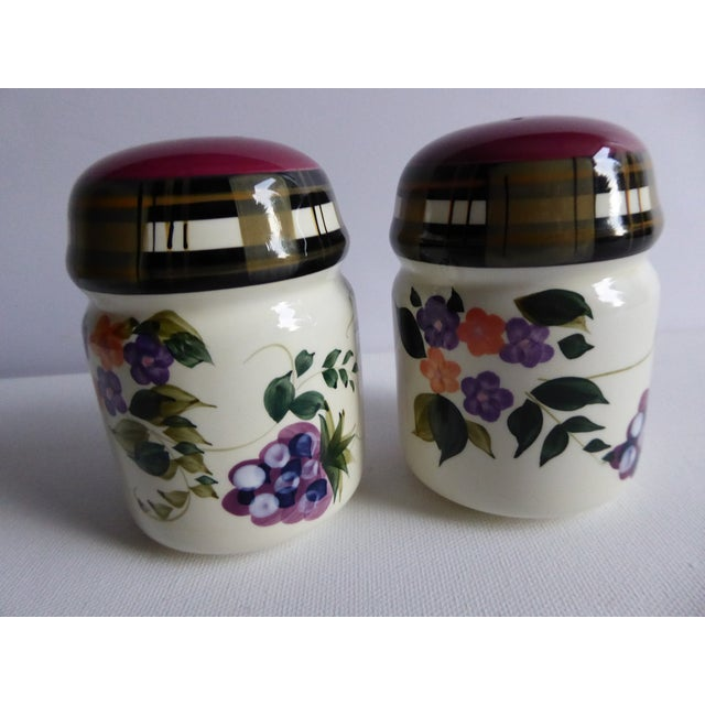 Cottage Vintage Oneida Strawberry Plaid Salt & Pepper Shakers - A Pair For Sale - Image 3 of 4