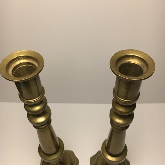 Large Floor Solid Brass Candleholders - a Pair - Image 9 of 9