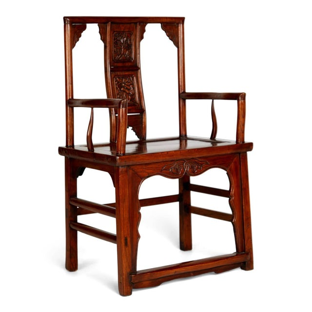 Mid 20th Century Pair of Chinese Carved Throne Armchairs For Sale - Image 5 of 11