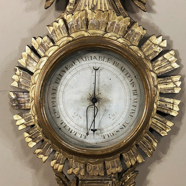 18th Century French Louis XVI Giltwood Barometer ~ Thermometer For Sale - Image 10 of 13