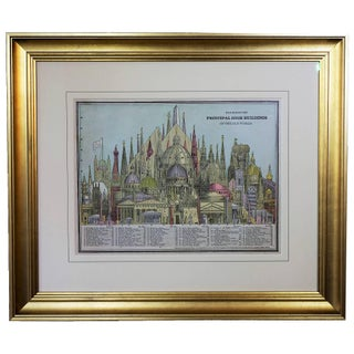"1887 ""Old World Buildings"" Framed Engraving For Sale"