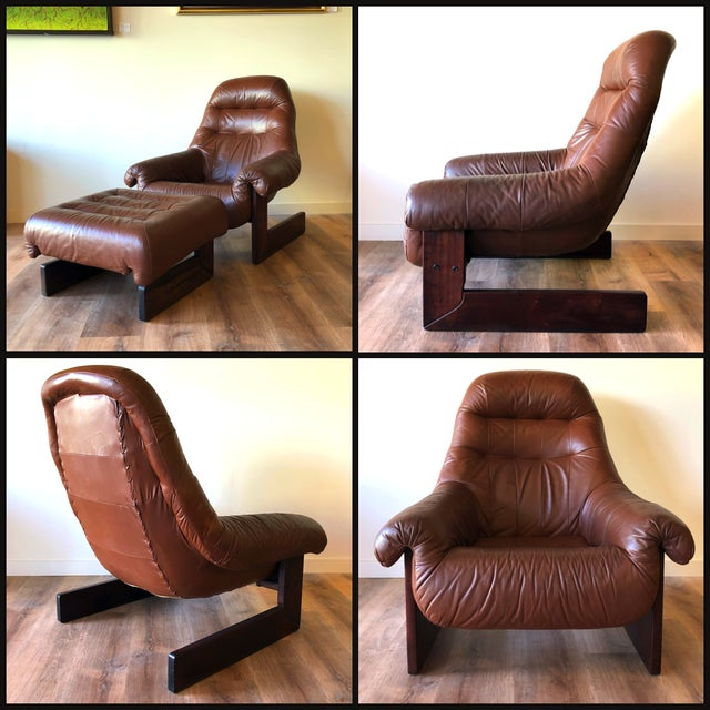 Very comfy tufted leather vintage leather lounge chair and ottoman. Rare cantilever style with Brazilian rosewood frame.