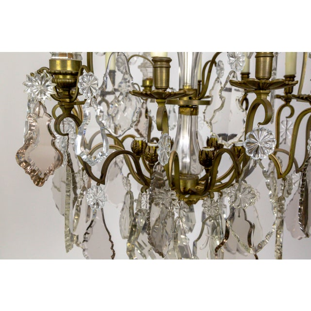 Tall Bronze Belle Epoque 21-Light Chandelier W/ Smoke & Mauve Crystals For Sale - Image 10 of 13