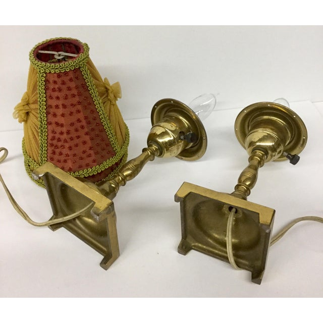 1940s Small Vintage Brass Table Lamps With Shades - a Pair For Sale - Image 9 of 13