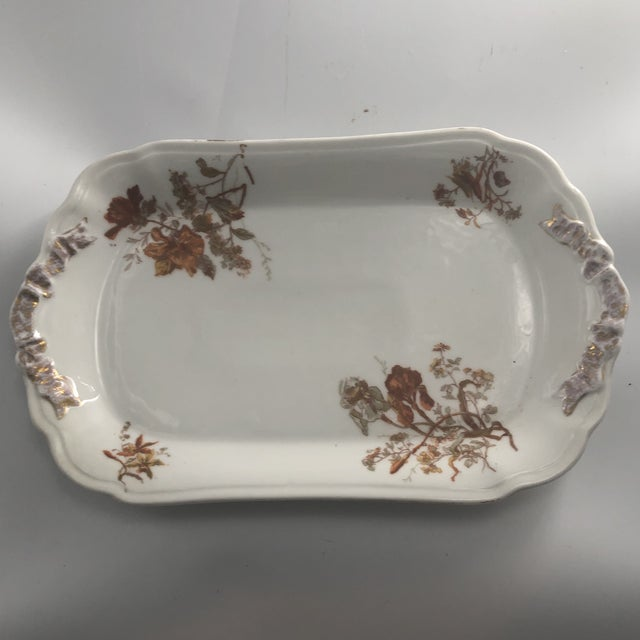 French 1940s French Limoge Holiday Serving Platter For Sale - Image 3 of 7