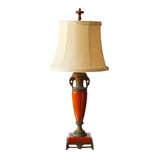 Petite Art Deco Lamp of Orange Bakelite For Sale