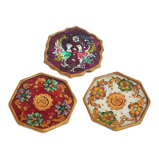 Vintage Glass and Wood Hand Painted Coasters From Peru - Set of 3