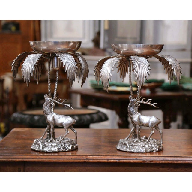 Early 20th Century Pair of Early 20th Century Silvered Bronze Centerpieces With Deer Sculpture For Sale - Image 5 of 12