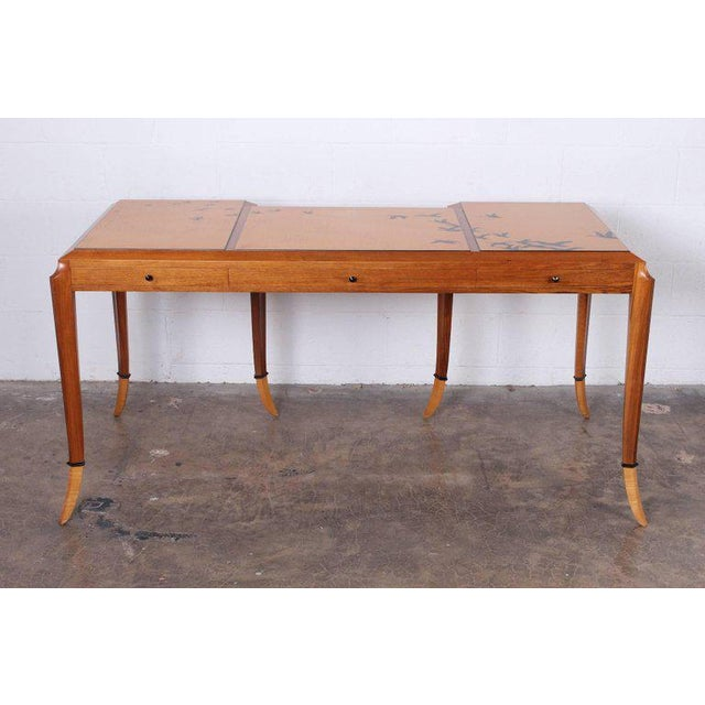 """Wendell Castle """"Goose desk"""", 1983 English walnut, curly maple, ebony, lacquer, India ink. Underside incised Wendell Castle..."""