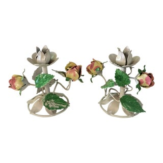 Pair of Tole Hand Painted Rose Candle Holders For Sale