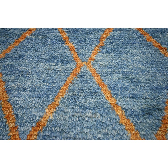 Abstract Orange and Blue Moroccan Style Rug With Modern Design, 10'05 X 13'00 For Sale - Image 3 of 10