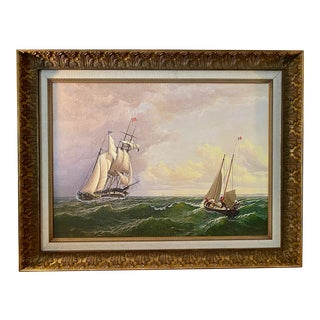 Ships Nautical Maritime Canvas Reproduction of Painting by William Bradford, Framed For Sale