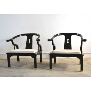 Pair of Hollywood Regency Asian Inspired Club Chairs Preview