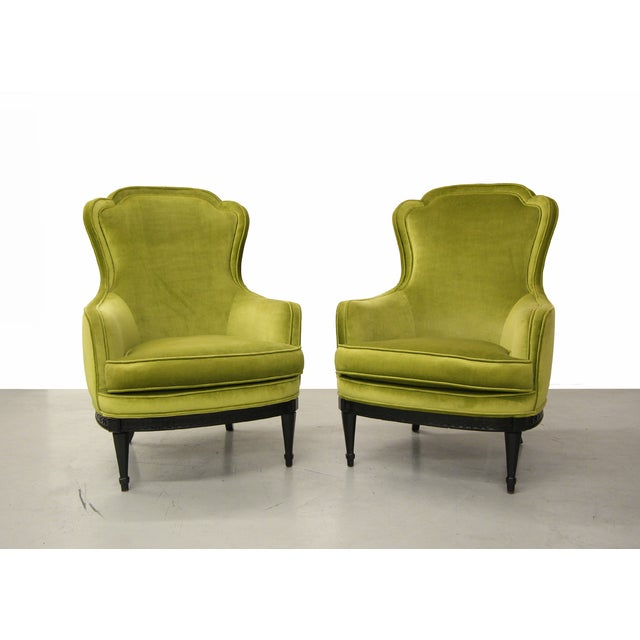 Mid Century Bergere Parlor Chairs - Pair - Image 2 of 7
