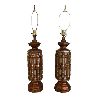Pair of Gilded Faux Bamboo Lamps For Sale