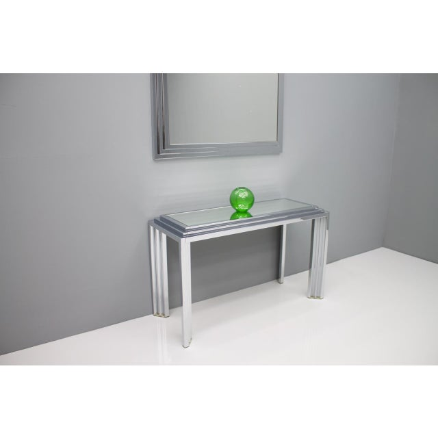 Silver Hollywood Regency Chrome Mirror and Console Table, France, 1974 For Sale - Image 8 of 11