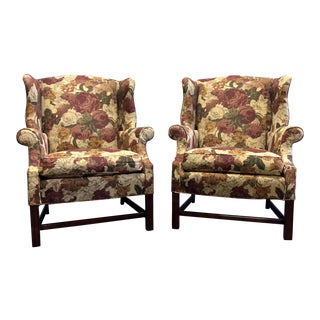 Straight Leg Chippendale Style Wing Back Chairs - a Pair