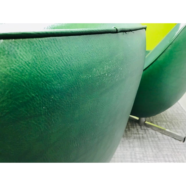 Mid-Century Modern Dark Green Leatherette Tandem Seat For Sale - Image 9 of 12