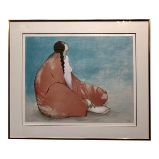 "R.C. Gorman ""Seated Native American Woman"" Original Signed Serigraph Print For Sale"
