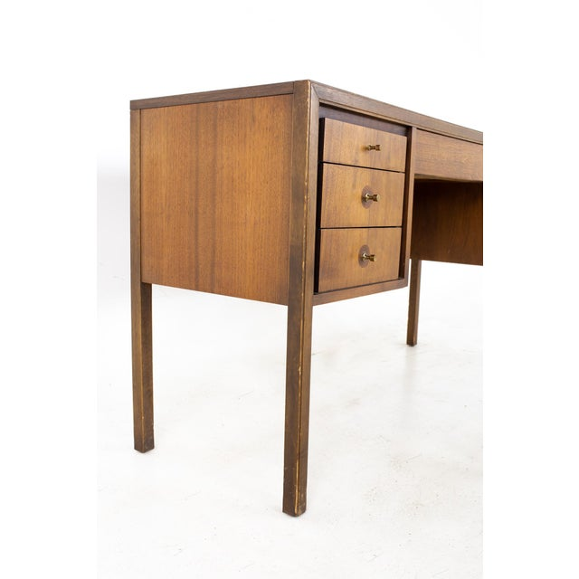 Lawrence Peabody Lawrence Peabody Style Mid Century Walnut and Laminate Desk For Sale - Image 4 of 13