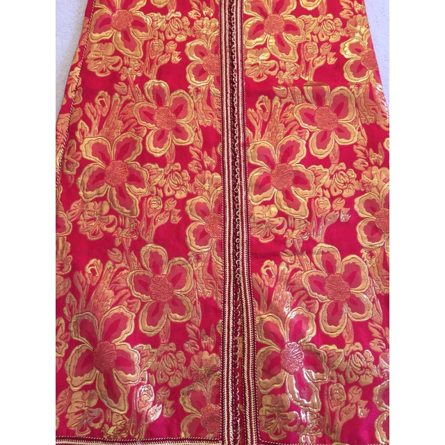 Red Vintage 1970s Moroccan Kaftan Red and Gold Floral Brocade Caftan Maxi Dress For Sale - Image 8 of 9