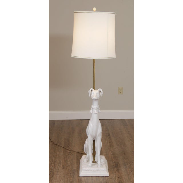 Mid-Century Modern Mid Century Italian Pottery White Whippet Greyhound Dog Floor Lamp For Sale - Image 3 of 13