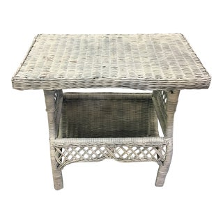 Vintage Shabby Chic Wicker Side Table W/Magazine Rack Lower Shelf For Sale