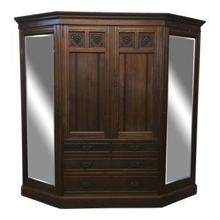 English Walnut Wardrobe Circa 1890 For Sale