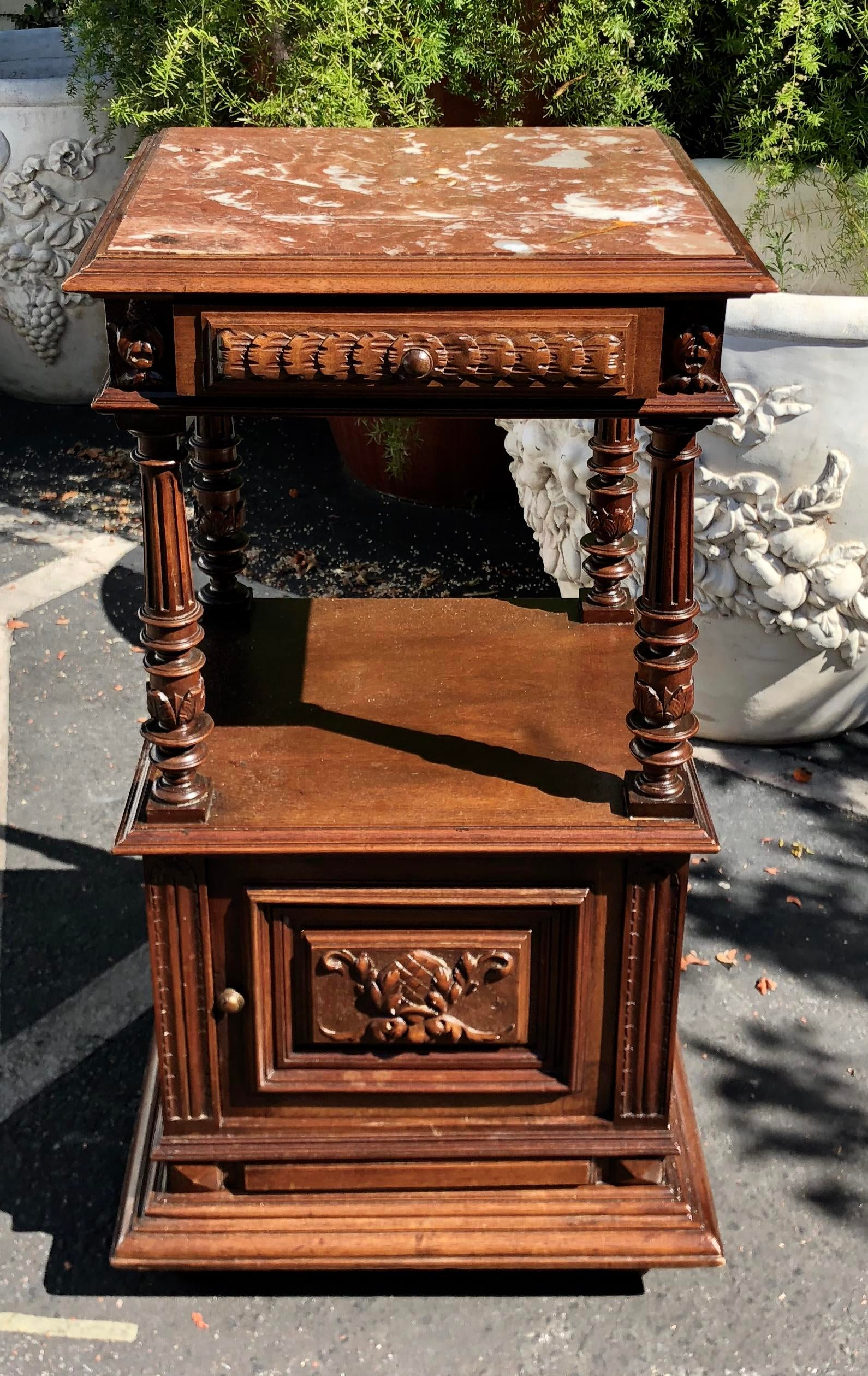 Antique Carved Renaissance Style Marble Top End Table