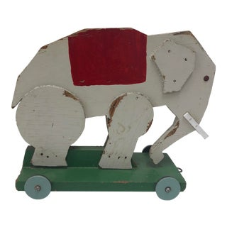 Vintage Toy Elephant with Wheels For Sale