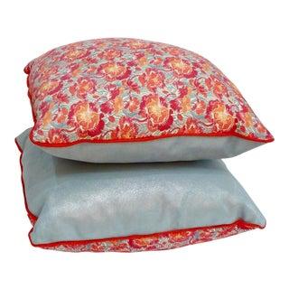 Blue & Orange Floral Liberty Pillow