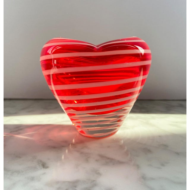 Glass 1960s Murano Red and White Striped Heart Vase For Sale - Image 7 of 7