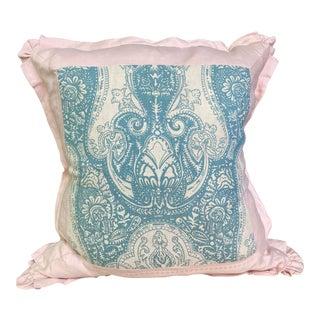 Antique Fabric Blue & White Floral Print Pillow For Sale