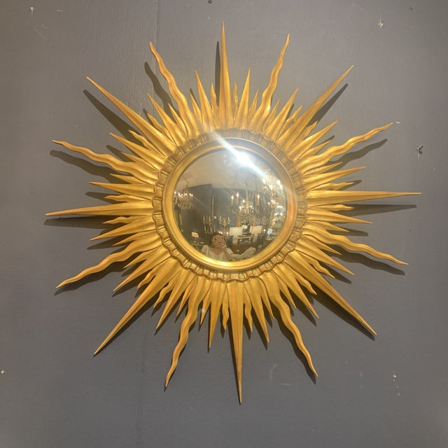 Gold Leaf Sunburst With Convex Mirror For Sale - Image 11 of 13