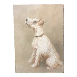 1920s Vintage Dog Portrait Painting For Sale