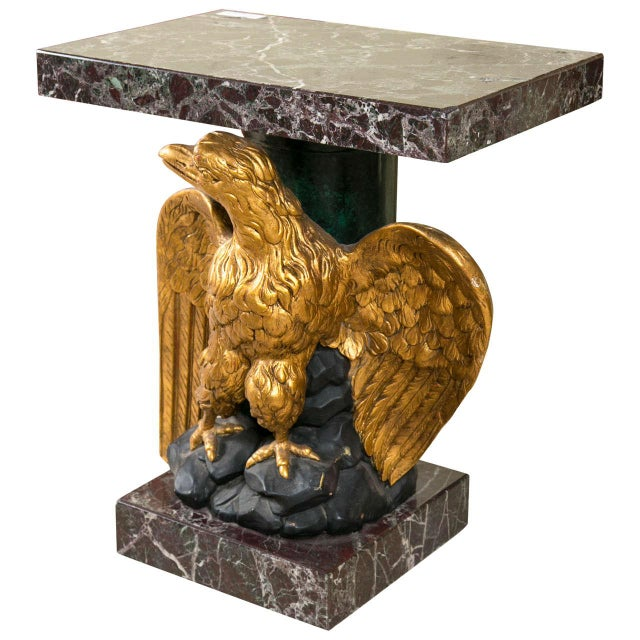 Marble Top Gilt Wood Carved Eagle Pedestal Table - Image 1 of 6