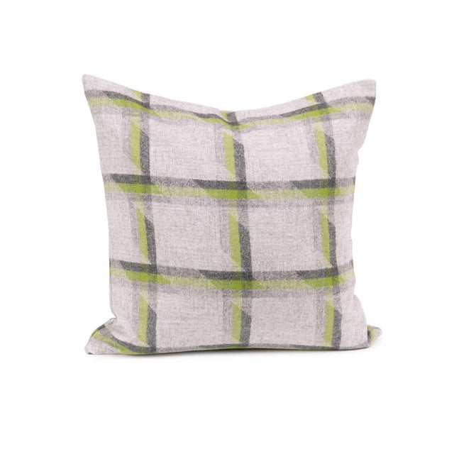 Mid-Century Modern Lime Plaid Lambswool Throw + Lumbar Pillow Cover For Sale - Image 3 of 5