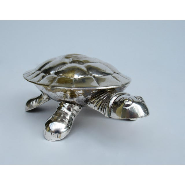 Boho Chic Vintage Silver Plate Lidded Turtle Keepsake Box For Sale - Image 3 of 13