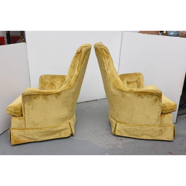 Structurally sound swivel, rocker lounge chairs. High back tufted velvet. Fabric should be replaced. 1960s USA