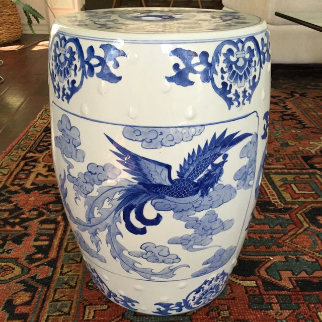Large Chinoiserie Ceramic Garden Stool - Image 4 of 9