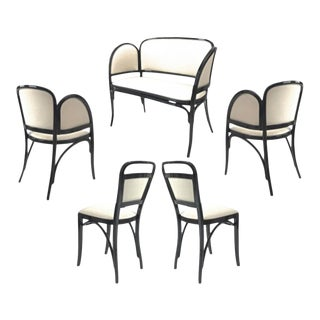 Maison Thonet Rare Set of Black Lacquered Bent Wood Five Pieces Set For Sale