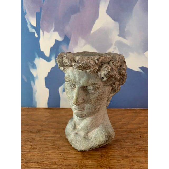 2010s Modern Cast Composite Concrete Stone Face Planter Head Vessel Vase For Sale - Image 5 of 13